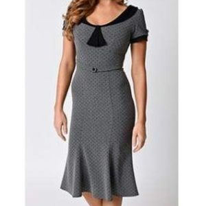 Stop Staring! Fitted grey with black dots dress